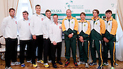(L-R) Lukasz Kubot & Marcin Matkowski & Jerzy Janowicz & Mariusz Fyrstenberg & Radoslaw Szymanik - captain of Polish team & John Laffnie de Jager trainer coach and captain of South Africa & Rik de Voest & Jean Andersen & Ruan Roelofse of South Africa while official draw one day before the BNP Paribas Davis Cup 2013 between Poland and South Africa at MOSiR Hall in Zielona Gora on April 04, 2013...Poland, Zielona Gora, April 04, 2013..Picture also available in RAW (NEF) or TIFF format on special request...For editorial use only. Any commercial or promotional use requires permission...Photo by © Adam Nurkiewicz / Mediasport