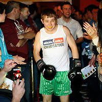 "16/03/2014<br /> Kevin ""Butcher Boy"" McCafferty of Wolfe Tones GAA, Shannon enters the ring for his fight against Paudie ""Concussion"" Conway of Newmarket on Fergus GAA at the White Collar Boxing tournament at the Oakwood Arms Hotel, Shannon. <br /> Picture: Don Moloney / Press 22"