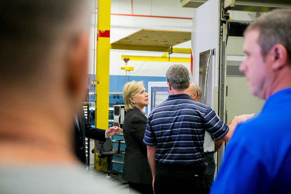 DETROIT, MI - AUGUST 11, 2016: Democratic presidential nominee Hillary Clinton tours Futuramic Tool & Engineering Company in Detroit, Michigan. CREDIT: Sam Hodgson for The New York Times.