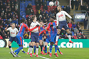 Tottenham Hotspur midfielder Lucas (27) jumps high to head towards goal during The FA Cup fourth round match between Crystal Palace and Tottenham Hotspur at Selhurst Park, London, England on 27 January 2019.