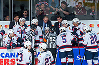 REGINA, SK - MAY 20: Regina Pats' head coach John Paddock stands on the bench and speaks to ice officials against the Acadie-Bathurst Titan at the Brandt Centre on May 20, 2018 in Regina, Canada. (Photo by Marissa Baecker/CHL Images)