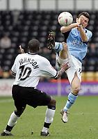Fotball<br /> FA-cup 2005<br /> Newcastle v Coventry<br /> 29. januar 2005<br /> Foto: Digitalsport<br /> NORWAY ONLY<br /> Tomasz Radzinski raises his foot to Michael Johnson