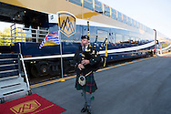 Rocky Mountaineer is a Canadian tour company that operates trains on four rail routes through British Columbia and Alberta.  Pictured here is the route from Vancouver to Kamloops, British Columbia. Travelers are greeted at the Rocky Mountaineer Train Station by bagpipes and a perky train staff