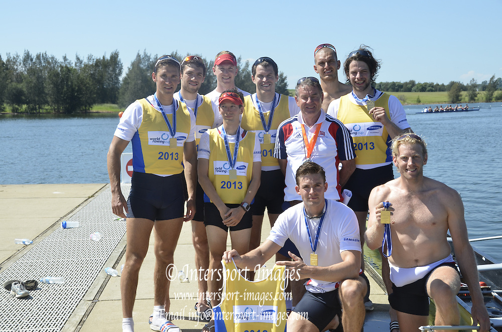 Sydney, Australia. FISA WC1, Sydney International Rowing Regatta. held at the Sydney International Rowing Centre, Penrith Lakes, NSW. GBR M8+, the crew, with Coach Jurgen GROBLER, after winning.   Sunday 24/03/2013  [Mandatory Credit. Karon Phillips/Intersport Images]..