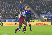 Harvey Barnes (15) & Michail Antonio (30) during the Premier League match between Leicester City and West Ham United at the King Power Stadium, Leicester, England on 22 January 2020.