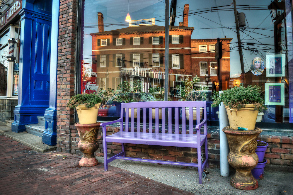 A building reflected in a beauty salon window, Portsmouth, New Hampshire.