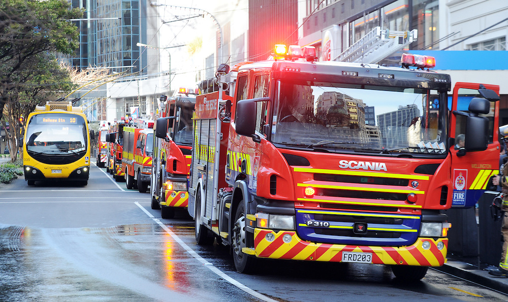 Fire crews attend a fourth floor fire at Prime Property House on Woodward Streett, off Lambton Quay in Central Wellington, New Zealand, Friday, July 19, 2013. Credit:SNPA / Ross Setford