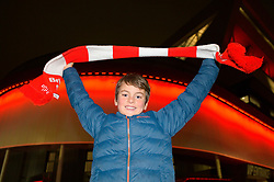 A young Bristol City fan holds his flag up before the Carabao cup game against Manchester United - Mandatory by-line: Dougie Allward/JMP - 20/12/2017 - FOOTBALL - Ashton Gate Stadium - Bristol, England - Bristol City v Manchester United - Carabao Cup Quarter Final