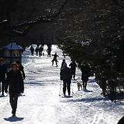 Cross country skiers make use of fresh snowfalls in Central Park after New York City was hit with over 7 inches of snow during its first winter storm of the year. Central Park, Manhattan, New York, USA. 4th January 2014 Photo Tim Clayton