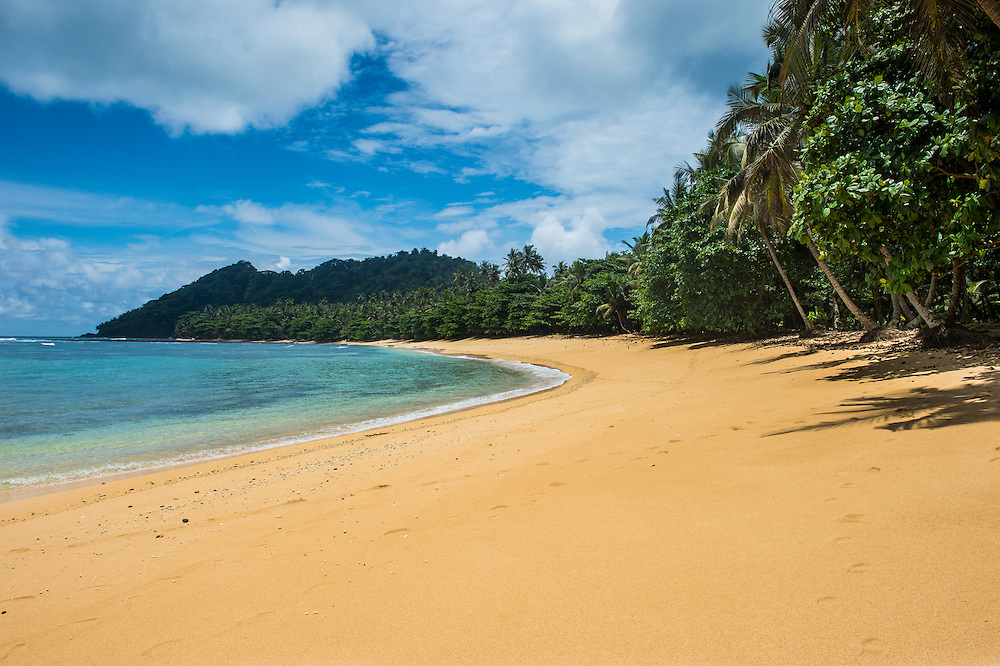 Beach Praia Cabana in the south coast of Sao Tome, Sao Tome and Principe, Atlantic ocean