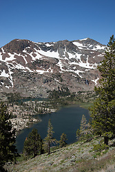 """""""Half Moon Lake 1"""" - Photograph of Half Moon Lake in the Tahoe Desolation Wilderness. Alta Morris Lake can also be seen in the distance."""