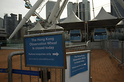 September 6, 2017 - Hong Kong, CHINA - The sign is displayed outside Hong Kong Observation Wheel at Central after current operator SWISS AEX announced closure of the Ferris wheel last week without prior announcement. AEX is required to dismantle the wheel tomorrow Sept 7,2017 HK Time if new operator THE ENTERTAINMENT CORP LTD ( TECL ) fail to attain relevant permits to continue with the business. Sept 6, 2017.Hong Kong.ZUMA/Liau Chung Ren (Credit Image: © Liau Chung Ren via ZUMA Wire)