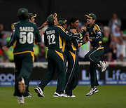 Bowler Mohammad Amir is congratulated after catching Graeme Smith during the ICC World Twenty20 Cup semi-final between South Africa and Pakistan at Trent Bridge. Photo © Graham Morris (Tel: +44(0)20 8969 4192 Email: sales@cricketpix.com)
