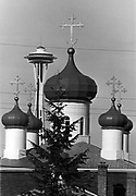 For the 1962 World's Fair, a newcomer cropped up among the onion-shaped spires of St. Spiridon's Cathedral, a Russian Orthodox church. (Johnny Closs / The Seattle Times, 1973)