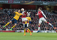Football - 2017 / 2018 UEFA Europa League - Semi-Final, First Leg: Arsenal vs. Atletico Madrid<br /> <br /> Alexandre Lacazette (Arsenal FC) rises highest to head at goal at The Emirates.<br /> <br /> COLORSPORT/DANIEL BEARHAM