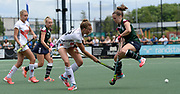 Surbiton's Alice Sharp keeps her feet away from the ball in the circle during the bronze medal match at the EHCC 2017 at Den Bosch HC, The Netherlands, 5th June 2017