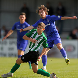 TELFORD COPYRIGHT MIKE SHERIDAN James McQuilkin of Telford and Oli Scott of Blyth  during the National League North fixture between Blyth Spartans and AFC Telford United at Croft Park on Saturday, September 28, 2019<br /> <br /> Picture credit: Mike Sheridan<br /> <br /> MS201920-023
