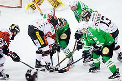 Gal Koren (HDD Olimpija), David Bartos  (HC Orli Znojmo), Mark Cepon (HDD Olimpija), Yellow Horn Colton Jaret  (HC Orli Znojmo), Tim Ograjensek (HDD Olimpija) during ice-hockey match between HDD Olimpija Ljubljana and HC Orli Znojmo in EBEL League 2016/17, on January 22, 2017 in Hala Tivoli, Ljubljana, Slovenia. Photo by Vid Ponikvar / Sportida