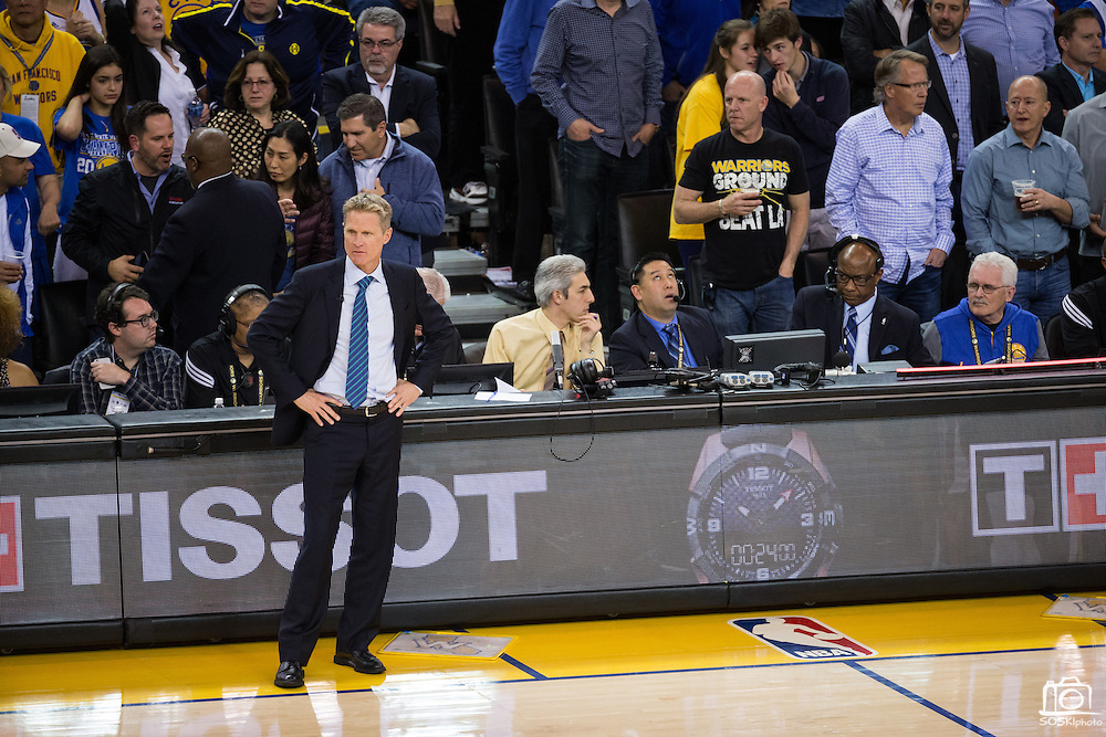 Golden State Warriors head coach Steve Kerr watches his team host the LA Clippers at Oracle Arena in Oakland, Calif., on February 23, 2017. (Stan Olszewski/Special to S.F. Examiner)