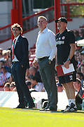 Brentford manager Dean Smith, Brentford assistant head coach Richard O'Kelly and Nottingham Forest manager Aitor Karanka on the touchline during the EFL Sky Bet Championship match between Brentford and Nottingham Forest at Griffin Park, London, England on 1 September 2018.