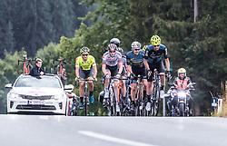 12.07.2019, Kitzbühel, AUT, Ö-Tour, Österreich Radrundfahrt, 6. Etappe, von Kitzbühel nach Kitzbüheler Horn (116,7 km), im Bild Spitzengruppe, v.l.: Lukas Spengler (Wallonie Bruxelles, CHE), Connor Swift (Arkea Samsic, GBR), Stephan Rabitsch (Team Felbermayr Simplon Wels, AUT), Marek Rutkiewicz (Wibatech Merx, POL) // during 6th stage from Kitzbühel to Kitzbüheler Horn (116,7 km) of the 2019 Tour of Austria. Kitzbühel, Austria on 2019/07/12. EXPA Pictures © 2019, PhotoCredit: EXPA/ JFK