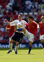 Photo: Olly Greenwood.<br />England U16 v Spain U16. International Friendly. 28/04/2007. England's Matthew James and Spain's Daniel Pacheco Lobato
