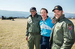 Matjaz Pristavec, Matej Becan and Uros Ban after the practice session of Slovenian parachuting team, on March 10, 2015 in Airport Lesce, Slovenia. Photo by Vid Ponikvar / Sportida