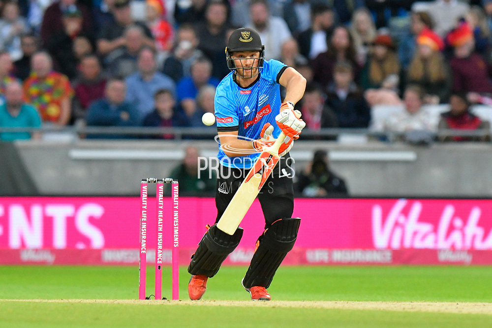 Laurie Evans of Sussex batting during the final of the Vitality T20 Finals Day 2018 match between Worcestershire Rapids and Sussex Sharks at Edgbaston, Birmingham, United Kingdom on 15 September 2018.
