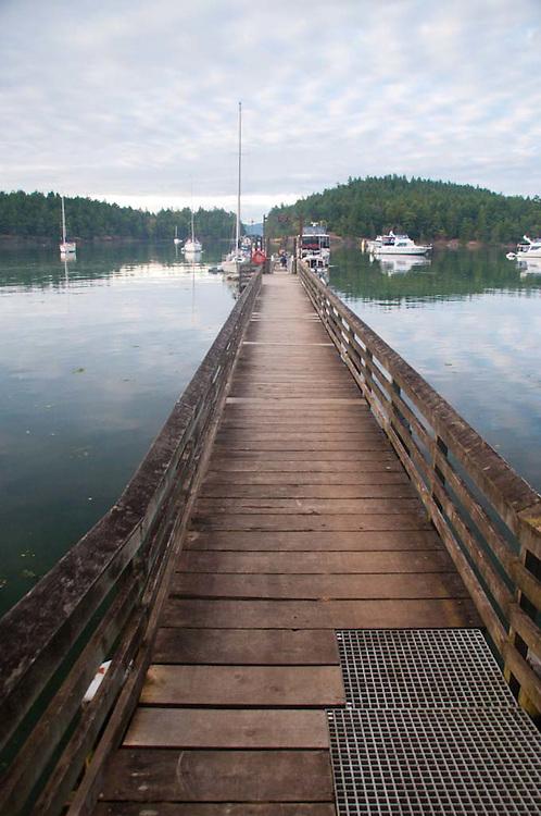 Dock at Prevost Harbor, Stuart Island, San Juan Islands, Washington, US