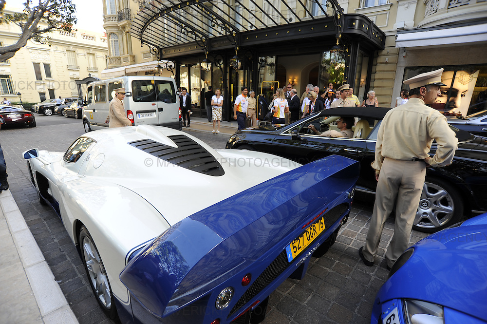 General view of prestige cars lined up outside the Hermes Hotel in Monaco, Monte Carlo.
