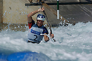 20040820 Olympic Games Athens Greece [Kayak Slalom Racing].Olympic Canoe/ Kayak Centre.GBR K1 Bronze medal winner, Campbell Walsh. first run.Photo  Peter Spurrier..Images@intersport-images.com.Tel +44 7973 819551.