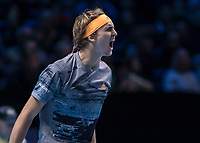 Tennis - 2019 Nitto ATP Finals at The O2 - Day Two<br /> <br /> Singles Group Andre Agassi: Rafael Nadal (Spain) Vs. Alexander Zverev (Germany)<br /> <br /> Alexander Zverev (Germany) celebrates after sealing victory over Rafael Nadal (Spain) <br /> <br /> COLORSPORT/DANIEL BEARHAM<br /> <br /> COLORSPORT/DANIEL BEARHAM