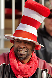 NORMAL, IL - October 13: Redbird fan wearing a Dr. Suess hat during a college football game between the ISU (Illinois State University) Redbirds and the Southern Illinois Salukis on October 13 2018 at Hancock Stadium in Normal, IL. (Photo by Alan Look)