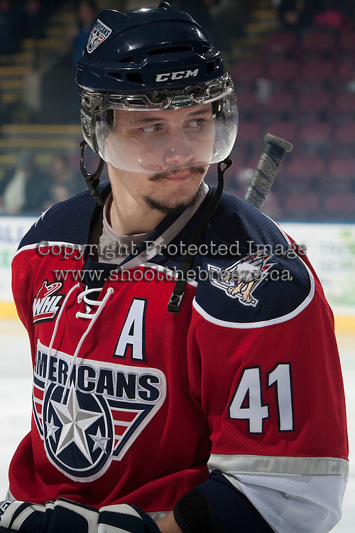 KELOWNA, CANADA - MARCH 8: Jessey Astles #41 of the Tri-City Americans skates against Kelowna Rockets on March 8, 2014 at Prospera Place in Kelowna, British Columbia, Canada.   (Photo by Marissa Baecker/Getty Images)  *** Local Caption *** Jessey Astles;