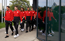 BRATISLAVA, SLOVAKIA - Thursday, October 10, 2019: Wales' goalkeeper Daniel Ward, Ben Davies, Ethan Ampadu and Tyler Roberts during a pre-match team walk near the Hotel NH Bratislava Gate One ahead of the UEFA Euro 2020 Qualifying Group E match between Slovakia and Wales. (Pic by David Rawcliffe/Propaganda)