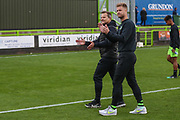 Forest Green Rovers manager, Mark Cooper and Forest Green Rovers Matt Mills(5) applaud the fans at the end of the match during the EFL Sky Bet League 2 match between Forest Green Rovers and Crawley Town at the New Lawn, Forest Green, United Kingdom on 5 October 2019.