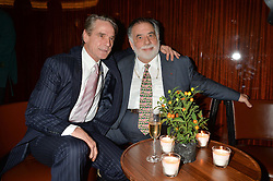 Left to right, JEREMY IRONS and FRANCIS FORD COPPOLA  at a dinner hosted by Liberatum to honour Francis Ford Coppola held at the Bulgari Hotel & Residences, 171 Knightsbridge, London on 17th November 2014.