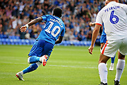 Peterborough United midfielder Siriki Dembele (10) celebrates his goal during  the EFL Sky Bet League 1 match between Peterborough United and Luton Town at London Road, Peterborough, England on 18 August 2018.