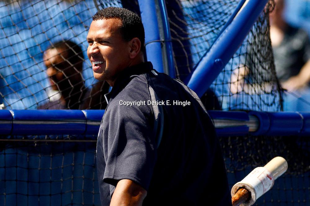 March 8, 2011; Dunedin, FL, USA; New York Yankees third baseman Alex Rodriguez (13) during batting practice before a spring training game against the Toronto Blue Jays at Florida Auto Exchange Stadium. Mandatory Credit: Derick E. Hingle-US PRESSWIRE
