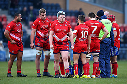 Jack Cosgrove of Bristol Rugby and teammates - Mandatory by-line: Robbie Stephenson/JMP - 13/01/2018 - RUGBY - Castle Park - Doncaster, England - Doncaster Knights v Bristol Rugby - B&I Cup