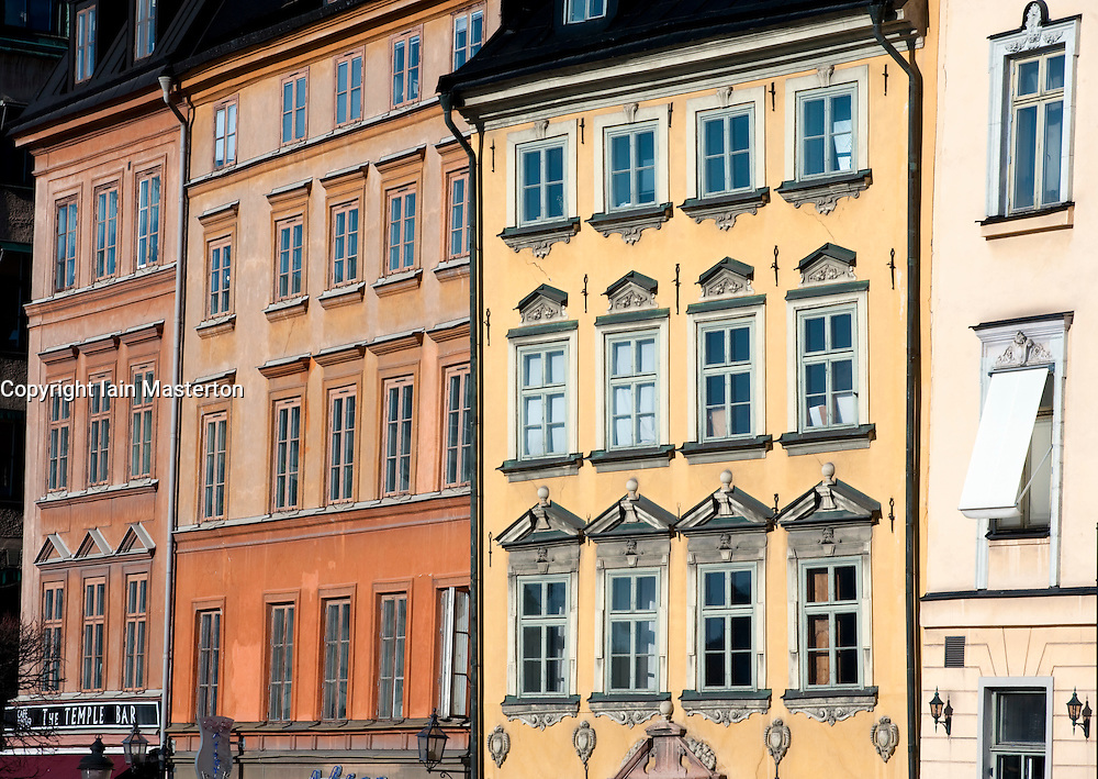 Historic facades of beautiful buildings in Gamla Stan old town in Stockholm Sweden 2009