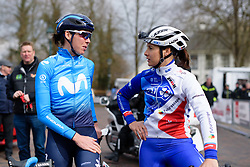 Former teammates, Aude Biannic & Roxane Fournier catch up before Drentse 8 van Westerveld 2018 - a 142 km road race on March 9, 2018, in Dwingeloo, Netherlands. (Photo by Sean Robinson/Velofocus.com)