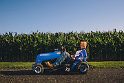 July 31, 2015 and Aug 1, 2015; Clements, MD, USA; Portrait series from the STA-BIL National Lawn Mower Racing Series at Bowles Farm in Clements, MD. Racers posed for portraits, before and during practice heats. Racers competed in at least 10 different mower classes on a 700 ft long dirt track. The course is surrounded by cornfields. <br /> <br /> Mandatory Credit: Brian Schneider-www.ebrianschneider.com<br /> Instagram - @ebrianschneider<br /> Twitter - @brian_schneider<br /> Facebook - Facebook.com/ebrianschneider or Facebook.com/brianschneiderphotography