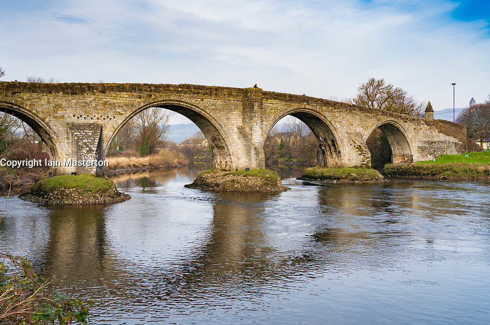 Old Stirling Bridge crossing the River Forth at Stirling ,Scotland, UK. Built by Robert Stevenson,.