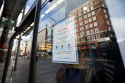 © Licensed to London News Pictures. 08/03/2020. London, UK. Coronavirus advice is displayed in the window of a Boots in Oxford Street. New cases of the COVID-19 strain of Coronavirus are being reported daily as the government outlines it's plans for controlling the outbreak. Photo credit: George Cracknell Wright/LNP