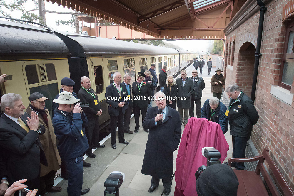 Broadway Station, Broadway, Worcestershire, UK. 30th March 2018.  A steam train carry members of the public departed from Broadway Station in the Cotswolds for the first time in almost 60 years today. On Good Friday, Lord Richard Faulkner of Worcester formally opened the station and traveled on the footplate of Great Western Railway-designed engine no.7903 'Foremarke Hall', the first public train to Cheltenham for 58 years. The new station has been built by GWSR volunteers to a similar design as the 1903 original station. Most of the stations on the former Stratford-upon-Avon to Cheltenham line were closed by British Railways in 1960 and the railway closed completely in 1976, with track and infrastructure removed by 1979. Pictured: Lord Richard Faulkner makes a speech before the locomotive departs. // Lee Thomas, Tel. 07784142973. Email: leepthomas@gmail.com  www.leept.co.uk (0000635435)