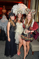 Left to right, ELLA BALDWIN, NATASHA CALLIN and TEDDY WOLSTENHOLME at the Tatler Magazine's Kings & Queens party held at Savini at Criterion, Piccadilly, London on 1st June 2016.