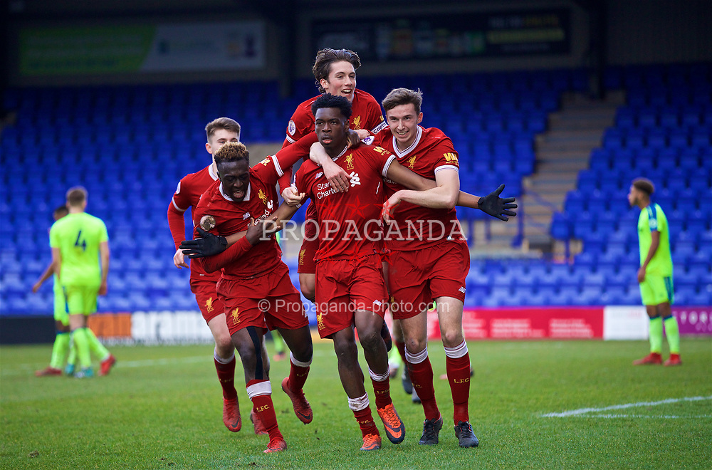 BIRKENHEAD, ENGLAND - Sunday, January 28, 2018: Liverpool's Oviemuno Ovie Ejaria celebrates scoring the winning goal with team-mates Bobby Adekanye, captain Harry Wilson and Conor Masterson during the Under-23 FA Premier League 2 Division 1 match between Liverpool and Derby County at Prenton Park. (Pic by David Rawcliffe/Propaganda)