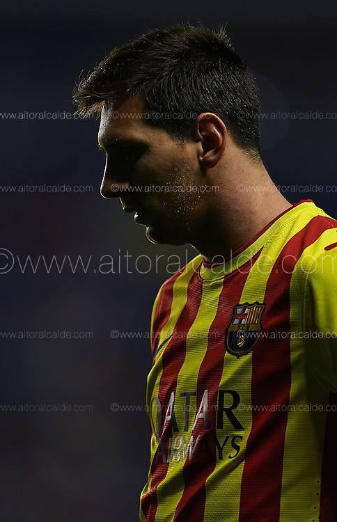 VALENCIA, SPAIN - JANUARY 2: Lionel Messi of FC Barcelona reacts during the SM Copa del Rey between Levante UD and FC Barcelona de at the Ciutat de Valencia stadium January 22, 2014 in Valencia, Spain. (Photo by Aitor Alcalde).