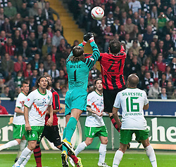 08.04.2011, Commerzbank-Arena, Frankfurt, GER, 1. FBL, Eintracht Frankfurt vs Werder Bremen, im Bild Tim Wiese (Bremen #1) ist vor Theofanis Gekas (Frankfurt #21) am Ball, EXPA Pictures © 2011, PhotoCredit: EXPA/ nph/  Roth       ****** out of GER / SWE / CRO  / BEL ******